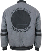 JH Design NBA Mens Reversible Wool Nylon Jacket Golden State Warriors Black Charcoal Gray-L