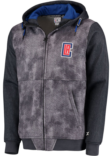 Men's LA Clippers Zipway Heathered Black Denim Full-Zip Hoodie