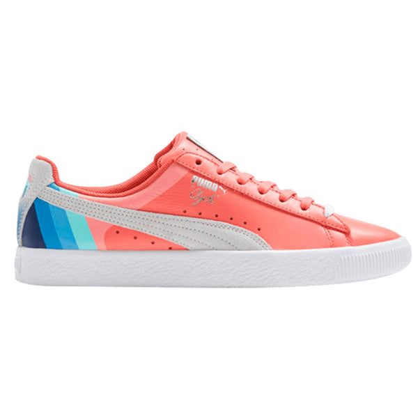 online retailer 741f0 07ff9 Puma Clyde Pink Dolphin Mens Leather Low Top Fashion Sneakers 366248 Rose  White Silver