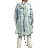 Smoke Rise Mens Fishtail Denim Parka with Rip Off Details Ice Blue