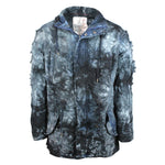 Smoke Rise Mens Fishtail Denim Parka with Rip Off Details Black Splash