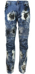 Stitches & Rivets Denim Mens Distressed Slim Straight Moto Jeans Biker Fit MJ081717B Blue