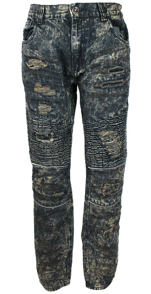Stitches & Rivets Denim Men's Distressed Slim Straight Moto Jeans Biker Fit MJ081715A Blue