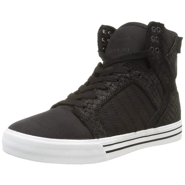 Supra Mens Skytop Hi Top Canvas Snakeskin Embossed Suede Fashion Sneaker Shoes Black White S18250