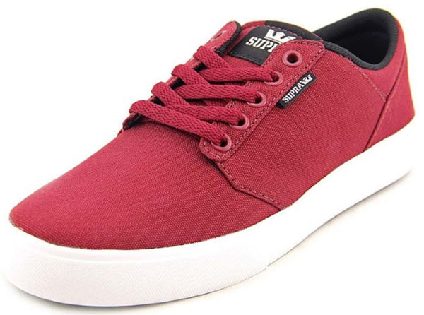 Supra Mens Yorek Low Top Canvas Fashion Sneaker Shoes Red Burgundy White S83010, Size - 9