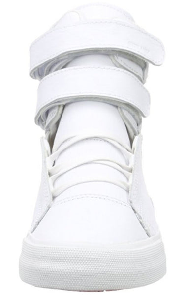 695539b167bb ... Supra Mens Society II Hi Top Leather Fashion Sneaker Shoes White Red  S34185 ...