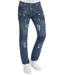 Trillnation Mens Slim Fit Moto Distressed Zipper Cargo Jeans TND228 Denim Blue