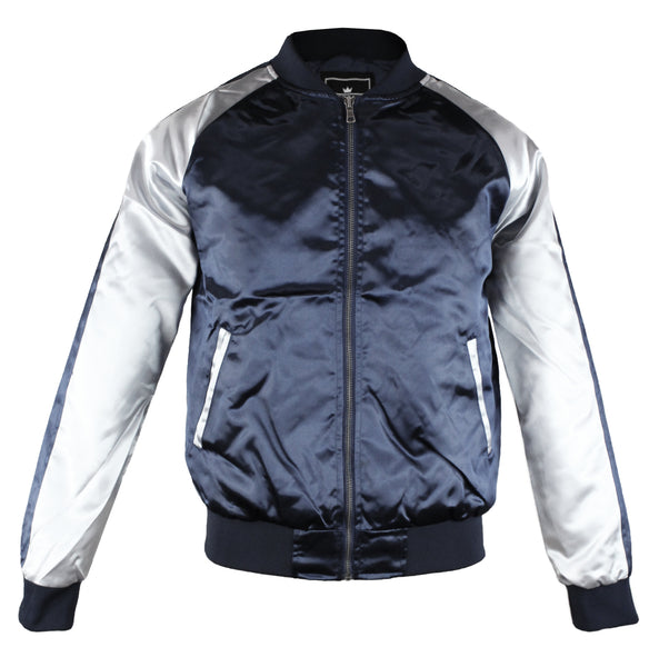 Upscale Mens Zip Up Two Tone Satin Look Bomber Track Jacket Black/Silver