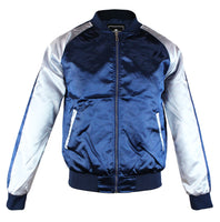 Upscale Mens Zip Up Two Tone Satin Look Bomber Track Jacket Navy/Silver