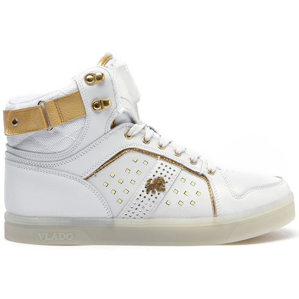 Vlado Footwear Lyte II Mens LED Light Hi Top Leather Sneakers IG5802-01 White