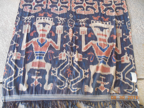 "Antique Sumba Ikat hand woven traditional textile from Borneo Indonesia 47"" wide 80"""