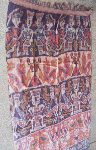 "44"" wide 103"" long antique Sumba Ikat hand woven traditional tapestry from Borneo"