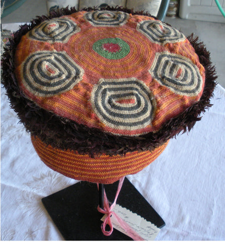 ANTIQUE CAMEROON,  AFRICAN HAT ON CUSTOM STAND