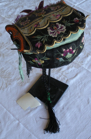 ANTIQUE CHINESE PIGTAIL HAT COVERED WITH SILK EMBROIDERY - SOLD