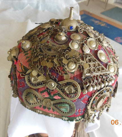 FABULOUS ANTIQUE CEREMONIAL HAT FROM CENTRAL ASIA