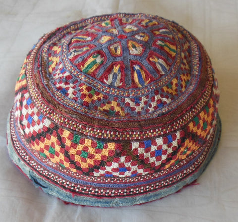 VINTAGE EXQUISITE EMBROIDERED CENTRAL ASIAN HAT TUBETEIKA SCULL CAP