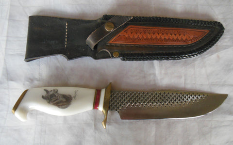 ALAN GERBER HUNTING KNIFE WITH LLAMA OR VICUNA ETCHED ON HANDLE. SOLD