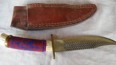 A SUPERB J.D.YOUNG 14 INCH HUNTING KNIFE BEADED ANTLER HANDLE