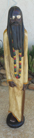 33 INCHES TALL COLORFUL FOLK ART CARVING OF A  HIPPIE GURU FROM GHANA AFRICA
