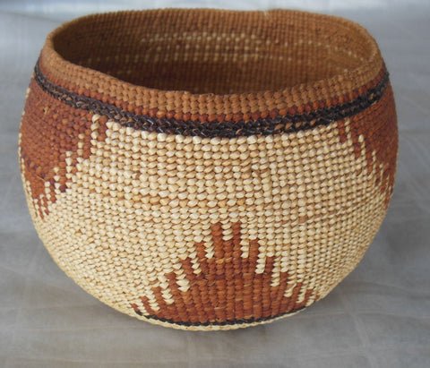 HUPA FINELY TWINED BASKET WITH OVERLAY TECHNIQUE CIRCA 1910