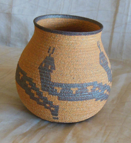 DAVID SALK CERAMIC CAHUILLA BASKET POT - SOLD