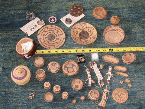 RARE VINTAGE MINIATURE NATIVE AMERICAN BASKET COLLECTION ASSEMBLED BEFORE 1960 - SOLD