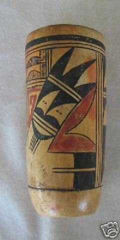 7 1/2 INCHES OLD HOPI TUBULAR POLYCHROME POT, 1900