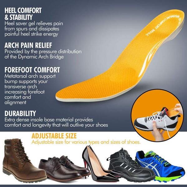Plantar Fasciitis and Heel Spur Pain Relief Full Length Orthotic Insole with Thick Gel Cushioning