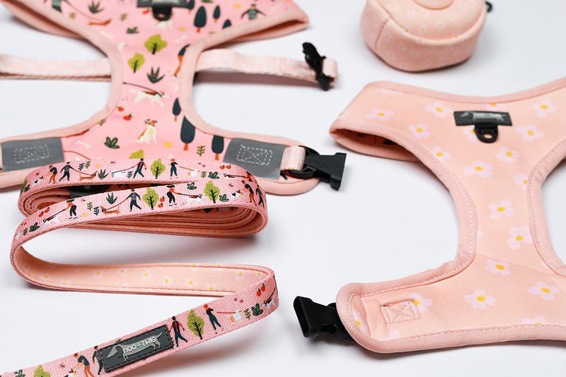 Pink Peach Neoprene Dog Leash with dog walking, dog walkers and daisies designed in Australia