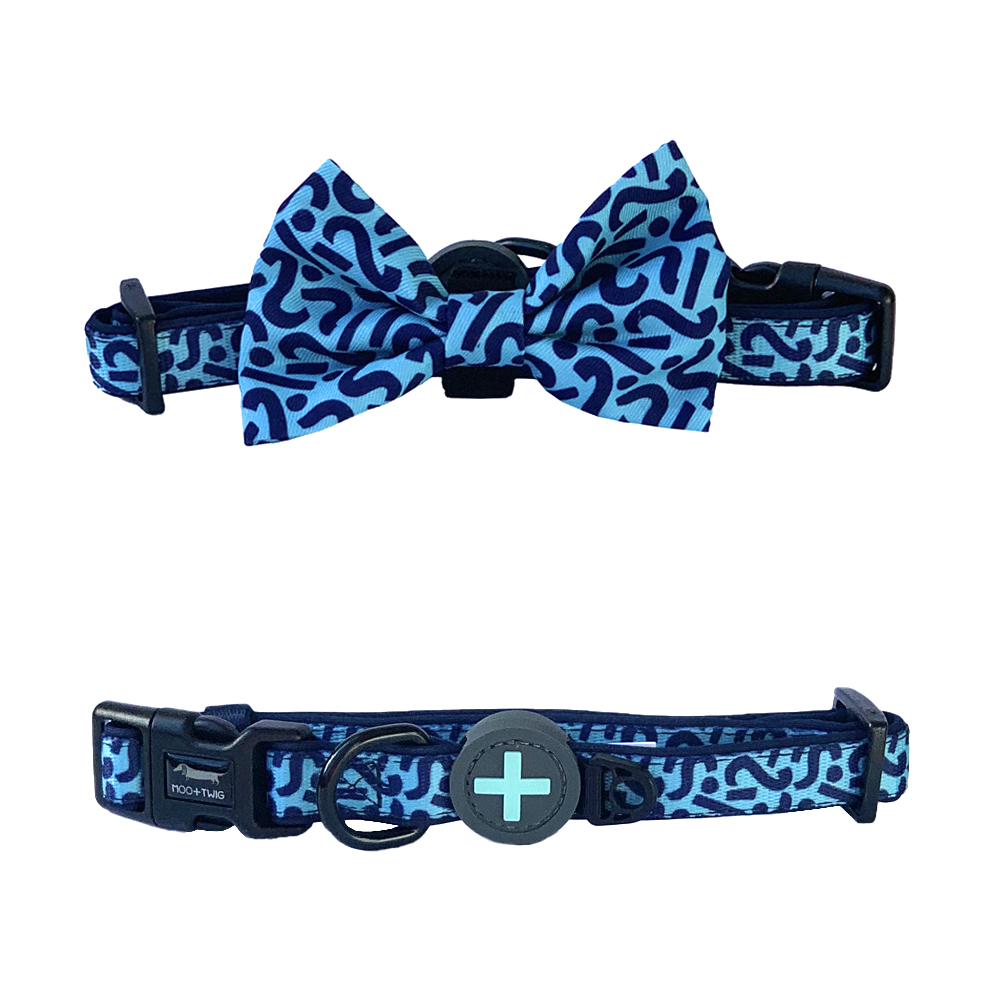 Blue Dog Collar with Bow Tie and Scribbles Lines and Squiggles designed in Australia with removable bow tie. Suitable dog collar for small to medium sized dogs.