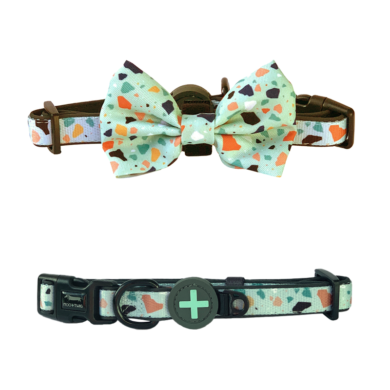 Mint green Dog Collar with Bow Tie and terrazzo designed in Australia with removable bow tie. Suitable dog collar for small to medium sized dogs.