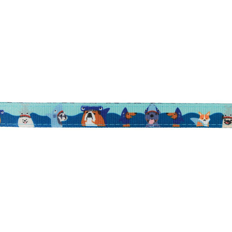 Reversible Neoprene Blue Boy Dog Leash with Shark Dog Print Featuring Dachshunds, Frenchies, Cavoodles, Corgis, Shiba Inus and more designed in Australia