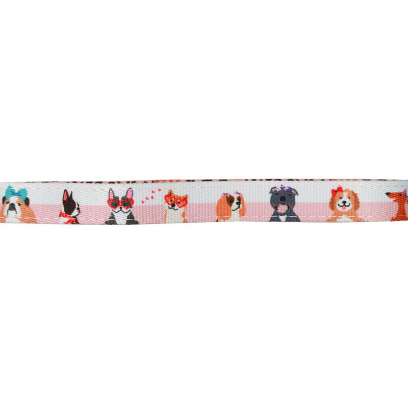 Girly Pink Neoprene Dog Leash with Hearts Dachshunds, Cavoodles, Corgis, Cavalier King Charles Spaniels and other dogs with hearts designed in Australia