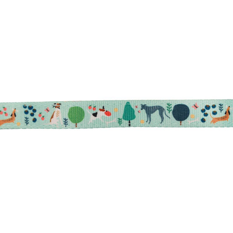 Green Reversible Dog Leash with plants and terrazzo print, dachshund, greyhound, jack russell dog leash Australia