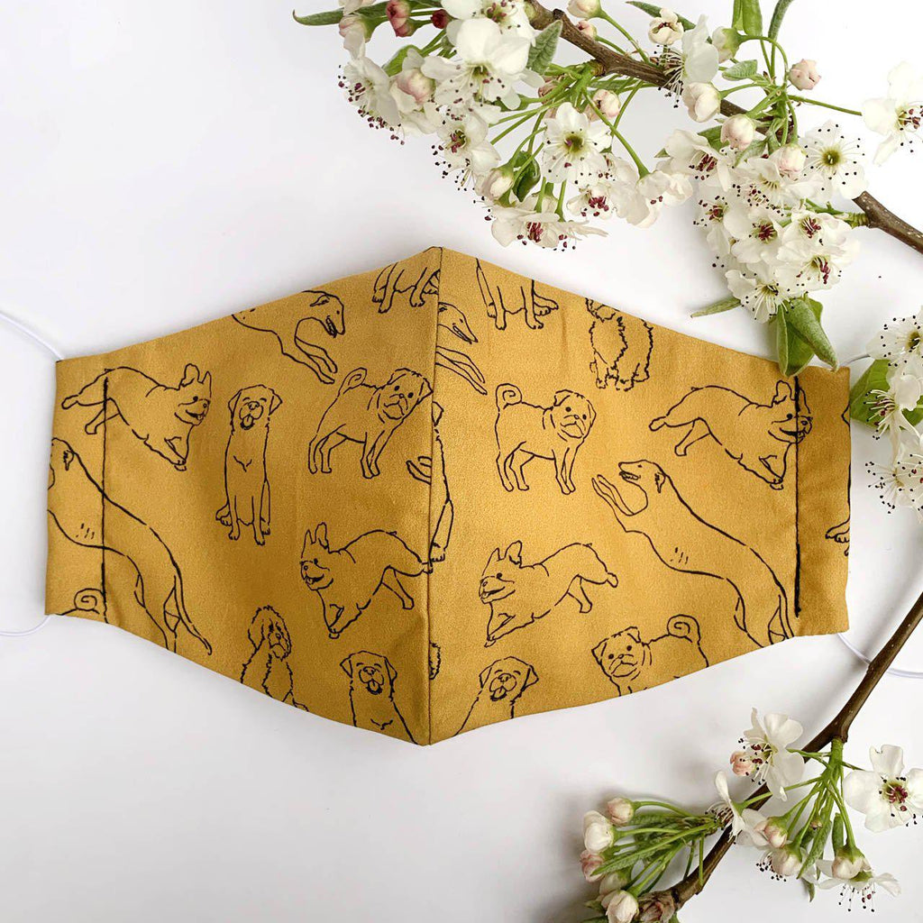 Face Mask - MOO+TWIG - Handmade In Melbourne - Dog print face mask with nose wire - Breathable and washable face mask - Dachshund Face Mask