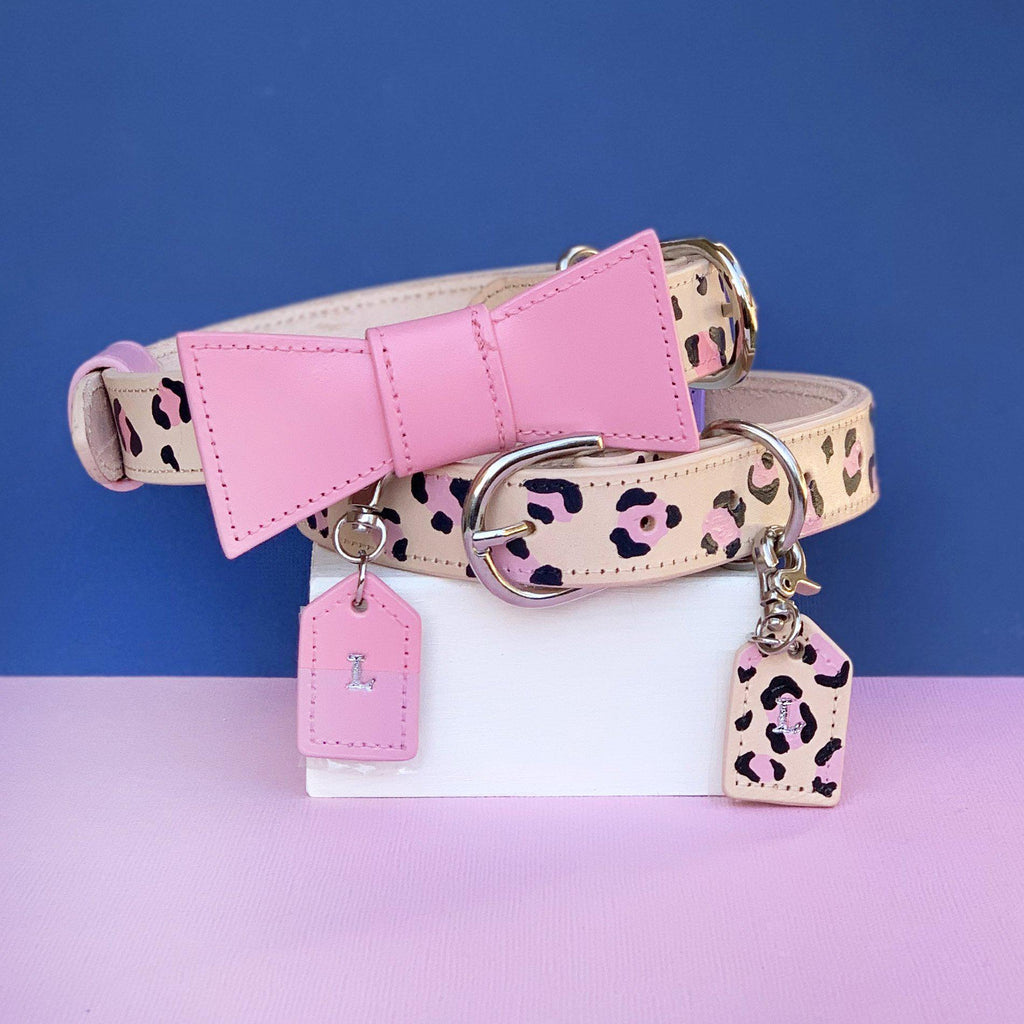 Pink Leopard Print Dog Collar hand painted in Australia with bow tie and monogram dog tag
