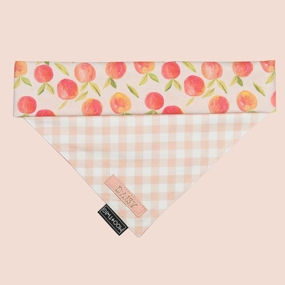 MONOGRAMMED REVERSIBLE DOG BANDANA - Gingham Peaches