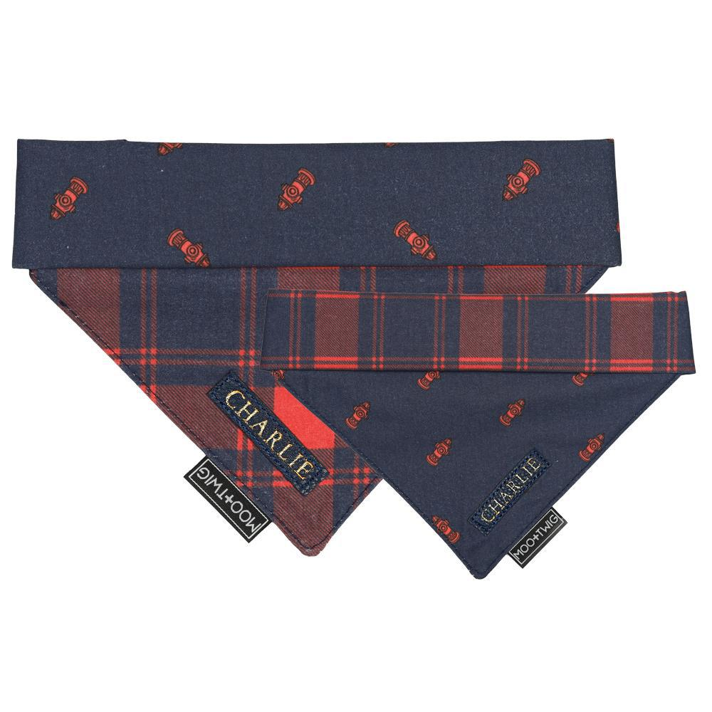 MONOGRAMMED REVERSIBLE DOG BANDANA - Hydrant Plaid