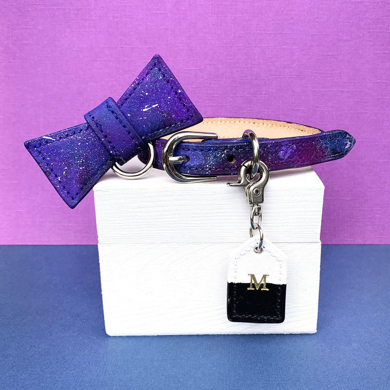 DOG COLLAR - Customised Cosmos Luxury Bow Tie Collar, Collars - MOO AND TWIG