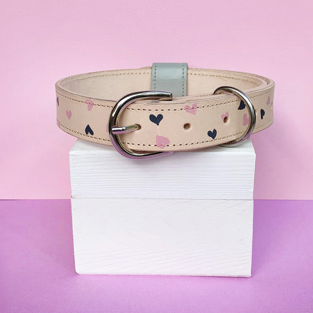 Pink and Grey Custom Hearts Leather Dog Collar with Bow Tie made in Australia