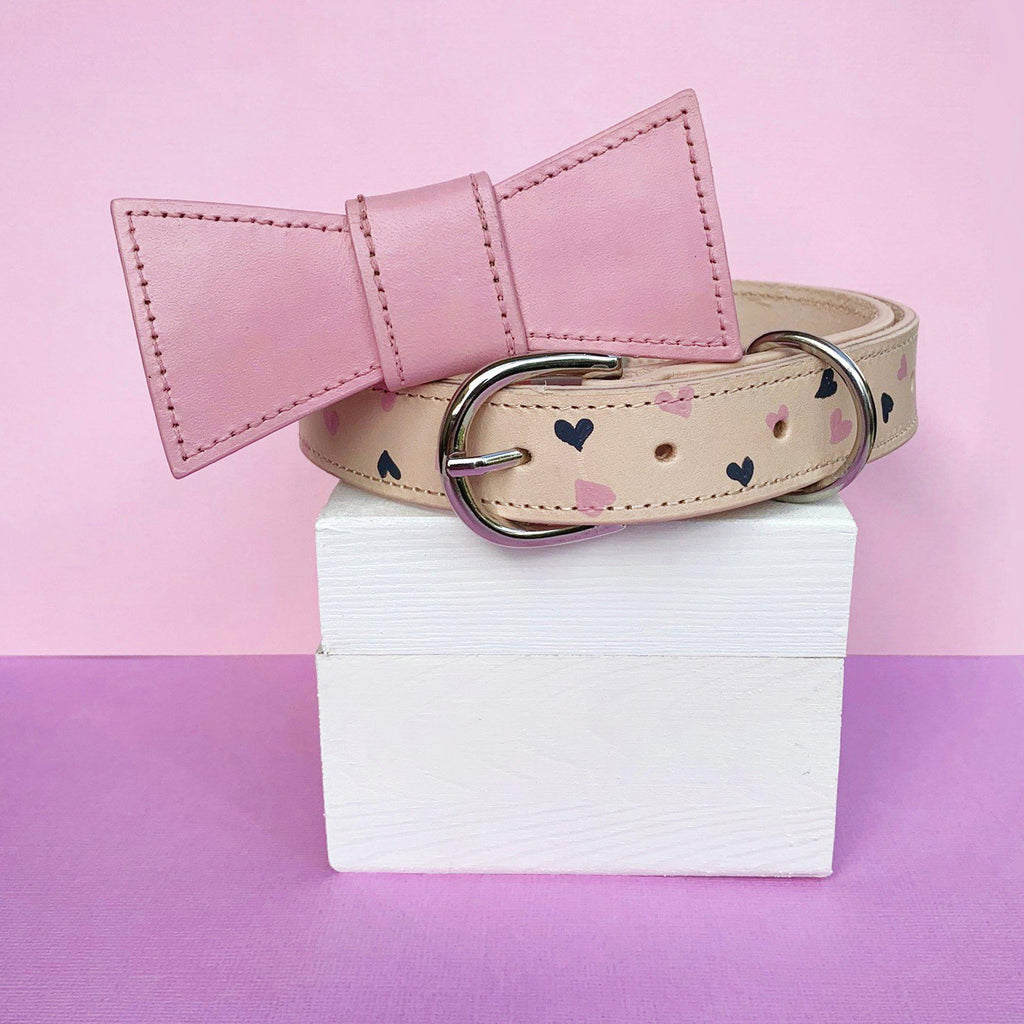 Pink Custom Hearts Leather Dog Collar with Bow Tie made in Australia
