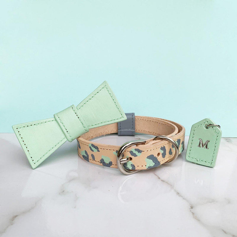 Mint Green Leopard Print Leather Dog Collar - Custom Leather Dog Collar - Leopard Print Dog Collar with removable bow tie and monogram tag - Custom Dog Collar Australia - Bespoke Leather Dog Collar