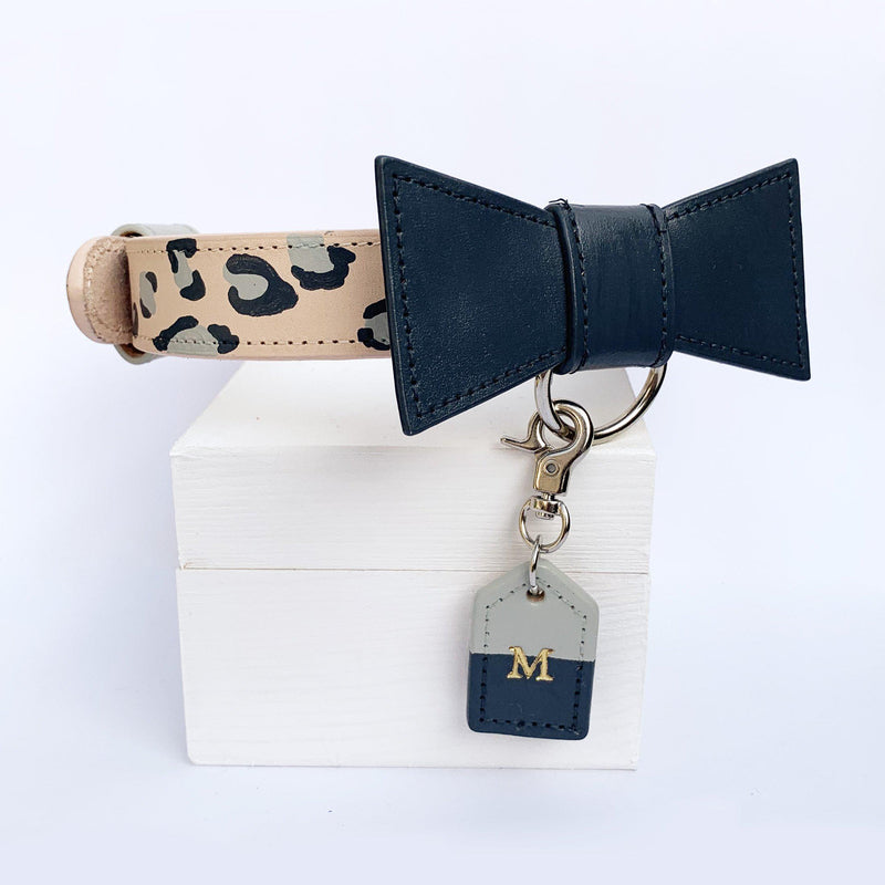 Grey Leopard Print Dog Collar hand painted in Australia with bow tie and monogram dog tag