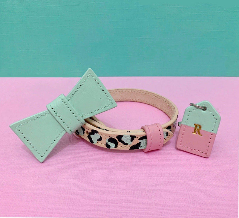 Pink and Mint Leopard Print Leather Dog Collar - Custom Leather Dog Collar - Leopard Print Dog Collar with removable bow tie and monogram tag