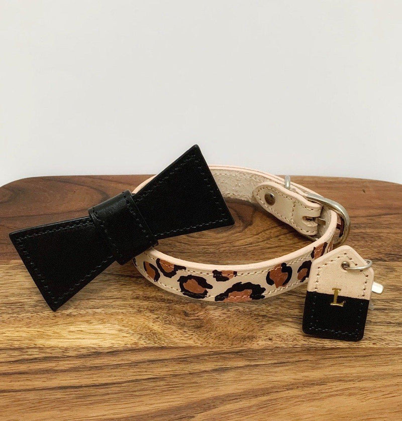Leopard Print Leather Dog Collar - Custom Leather Dog Collar - Leopard Print Dog Collar with removable bow tie and monogram tag - Custom Dog Collar Australia - Bespoke Leather Dog Collar