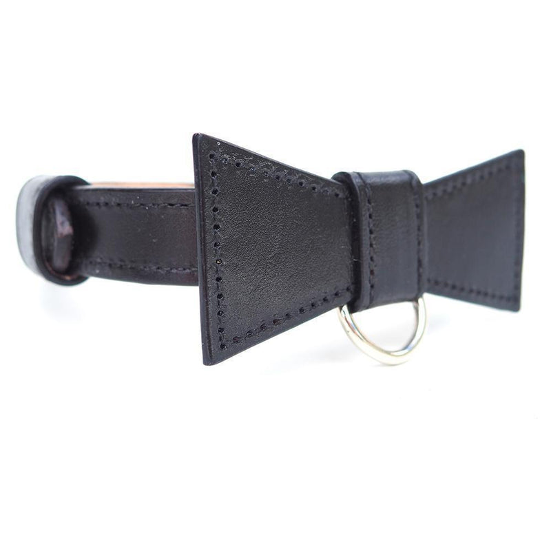 Custom Leather Dog Collar with Bow Tie and Monogram - Bespoke Leather Dog Collar Made in Australia