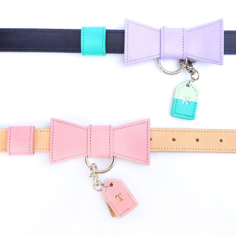 Pretty Custom Leather Dog Collar with Bow Tie and Monogram - Bespoke Leather Dog Collar Made in Australia