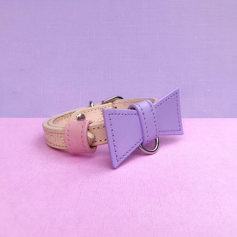 Lilac and Baby Pink Custom Leather Dog Collar with Bow Tie and Monogram - Bespoke Leather Dog Collar Made in Australia