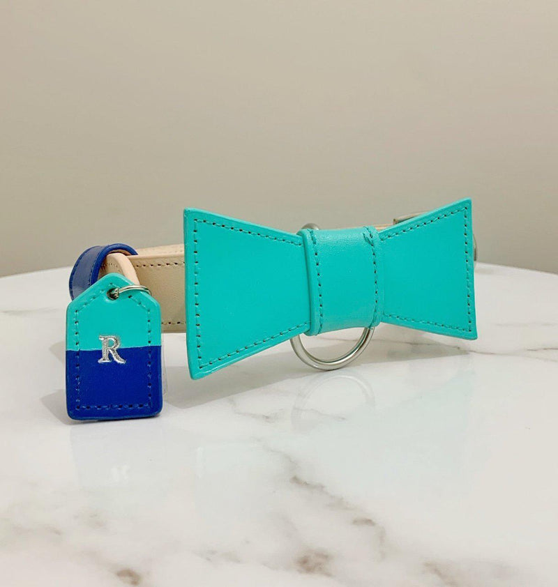 Turquoise and Blue Custom Leather Dog Collar with Bow Tie and Monogram - Bespoke Leather Dog Collar Made in Australia with Dog Tag
