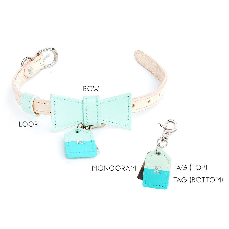 Mint Green Custom Leather Dog Collar with Bow Tie and Monogram - Bespoke Leather Dog Collar Made in Australia with Dog Tag